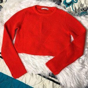 Orange crop knitted sweater | ZARA